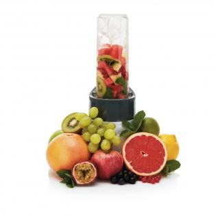 Mixeur de 300W avec lame en acier inoxydable et bouteille en Tritan de 550 ml. Pile la glace, mixe les fruits frais comme congelés, les légumes et même les fruits secs. Sans BPA. Manuel d'utilisation avec d'excellentes recettes inclus.