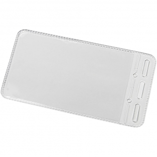 Clear portrait pass holder with openings to attach to a lanyard or roller clip.