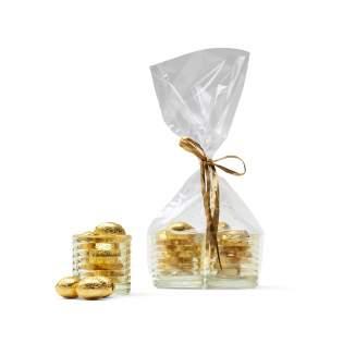 2 Gele theelichthouders gevuld met belgische chocolade eieren