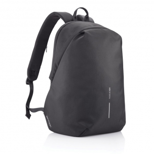 """For university, school, work or your next trip, the Bobby Soft Backpack is ready! The iconic Bobby anti-theft design with hidden RFID protected pockets, no front access and hidden zippers is now complemented with a safe zipper puller on the main compartment. In the main compartment, you can easily organise your gear with a padded 15.6"""" laptop compartment, notebook pocket, smart pockets and a keychain clip. The top of the backpack is expandable giving additional space. This backpack is also equipped with an integrated USB charging port and water repellent material. Made from R-pet materials and AWARE™ tracer. With AWARE™, the use of genuine recycled fabric materials and water reduction is guaranteed, by using the AWARE disruptive physical tracer and blockchain technology. Each Bobby Soft saves 22L of water and reuses 37 plastic bottles. Registered design®"""