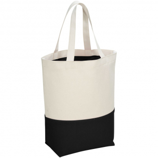 This 280 g/m² Cotton tote bag features an attractive accent colour panel along the base. In the open main compartment the colour is repeated in the PVC lining making this bag easy to clean and perfect for wet beach or swim wear. Featuring a bottom board for extra strength and 18 cm carry handles.