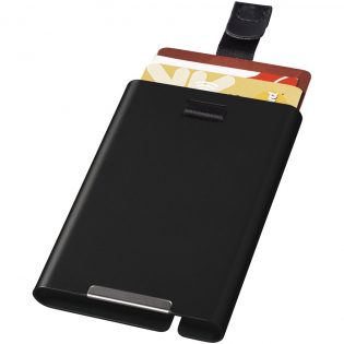 Aluminum card holder protects your cards from identity theft, breaking and damage. Simply take out the cards using the cord. Holds up to 9 cards. Presented in a gift box.