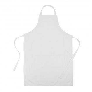 Tablier de cuisine de qualité supérieure facilement ajustable incluant 2 poches avant, tissu 35% coton et 65% polyester.
