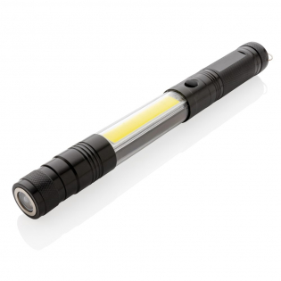 The perfect work light for any need, this double magnetic LED work light is great for attaching to any metal surface for optimal lighting. This aluminium flashlight allows you to extend from its normal size of 26 cm to 64 cm allowing you to pick up items that are stuck in hard to see and reach places with the magnet on front. This flashlight is equipped with three LED 10 l for extra bright exposure in dark spaces and 80 lumen COB light. When the head of the torch is extended, the head becomes flexible and can be adjusted in any direction. Includes batteries for direct use.