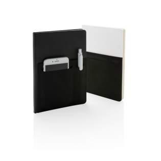 A5 notitieboek met 160 pagina's van 80g/m2. Unieke voorkant met speciaal vakje voor je telefoon, pen en groot vak voor documenten. Telefoon vak is 8cm breed dus groot genoeg voor zelfs een iPhone 7 plus.