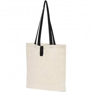 Tote bag with an open main compartment and coloured handles with a dropdown height of 32 cm. Features a strap with button closure to keep the bag folded. Resistance up to 8 kg weight.