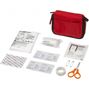 5 plasters, 4 alcohol pads, bandage, triangle bandage, 2 safety pins, 5 gauzes, and scissors in nylon pouch. EN13485 compliant.