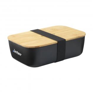 Royale lunchbox van PP kunststof. Het deksel is van natuurlijk bamboe en sluit de lunchbox luchtdicht af. Inclusief elastische sluitband. Dit product bevat geen melamine. Per stuk in kraft doos.