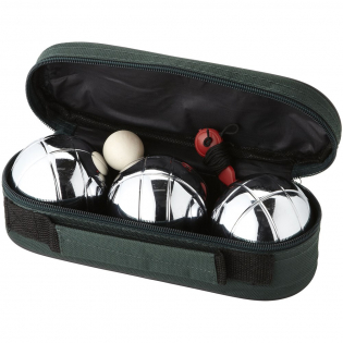3 boules de pétanque en acier avec un cochonnet bois et pochette de rangement.