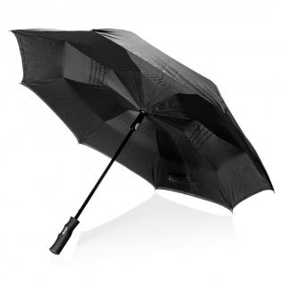 23'' umgekehrter Regenschirm aus 190T Pongee Stoff mit automatischer Öffnung und manueller Schließung. Der Schirm verfügt über Fiberglasschaft und -gestänge. Windproof