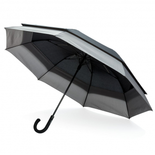 """Parapluie automatique en tissu pongé 190T avec mât en métal, baleines en fibres de verre et pointe en PP. Plié, il est aussi léger et petit qu'un 23"""", ouvert, le parapluie s'agrandira automatiquement jusqu'à 27"""", pour plus de protection et pour 2 personnes."""