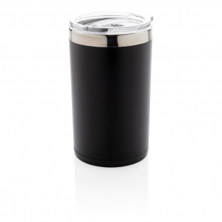 Double wall tumbler. 304 SS inside and ABS plastic outside. Engrave your logo and when pick up and shake, the tumbler will light up your logo. Including 2 CR2032 cell battery. Content: 200 ml. Fits most coffee machines.
