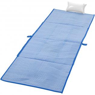 Tapis de plage pliable 2 en 1 qui se plie en un sac fourre-tout pratique de 60x44 cm. Comprend une poche et un oreiller gonflable. Hauteur des poignées de 28 cm.