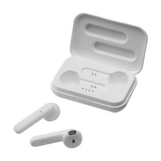 Set d'écouteurs sans fil dans une boîte de rangement rechargeable. Les 2 écouteurs fonctionnent sur Bluetooth (version 5.0) pour une connexion sans faille et ont une batterie de 35 mAh d'une autonomie d'écoute jusqu'à 3 heures qui se recharge en 1 heure environ.  Écouter de la musique et répondre aux appels en mains libres sans restriction de mouvement. Excellente reproduction sonore et volume réglable. Entrée 5V/1A Sortie sans fil : 5V/1A. Portée jusqu'à 10 mètres. Câble de recharge micro USB et manuel d'instructions inclus. Par pièce dans une boîte.