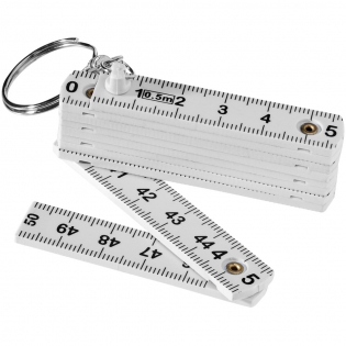 Double side printed ruler with 50 cm. on one side and 20 inches on the other side. Devided in several foldable piece. Split metal key ring.
