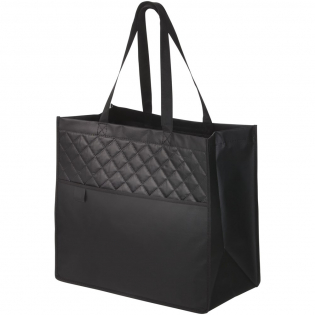 Fashionable tote bag with stitched quilting detail. The perfect alternative to plastic bags. Open main compartment. Open front pocket with pen loop. Laminated material is water-resistant and easily wipes clean. Handle drop height 24.5 cm.