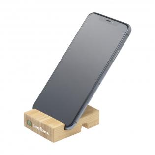 Stabiler Telefonständer, hergestellt aus hochwertigem und nachhaltigem Bambus. Eine ökologisch verantwortungsbewusste Wahl. Bambus ist ein natürliches Material. Daher kann die Farbe pro Produkt variieren.
