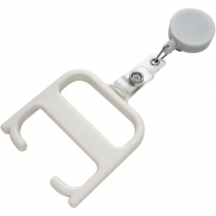 A robust hygiene tool that allows the user to open doors and push buttons without any direct contact. Manufactured from strengthened materials for extra durability. This product contains Biomaster antimicrobial technology that provides protection against the growth of harmful micro-organisms for the lifetime of the product. Supplied with a roller clip attachment to keep within easy reach.