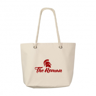 Beach bag made of 100% cotton. With cord handles and zipper pouch on the inside.