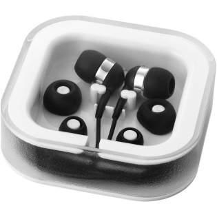 Luxe oordopjes met snoermicrofoon voor handsfree bellen. Gesprek aannemen en afsluiten met één en dezelfde microfoonknop. Compleet met drie verwisselbare dopjes van zacht rubber en kunststof cassette die ook plaats biedt voor het snoer. Geleverd met 3,5 mm audiostekker en 96 cm snoer.