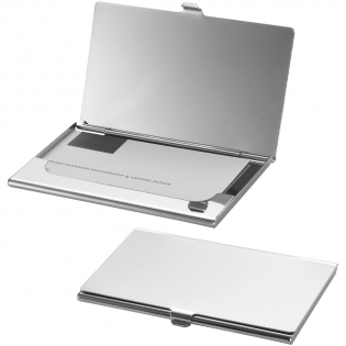 Stainless steel business card holder with mirror finishing. Holds approximately 10 business cards.