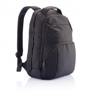 Unique 1680D polyester laptop backpack with two main compartments. One compartment contains a universal storage system to store almost any laptop size. The other compartment has a special storage pocket for your tablet. The front has two zipper pockets ideal for storing your smaller valuable belongings including a hook to hang your keys on.