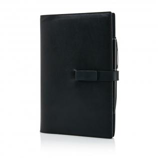 Carnet A5 de 112 pages 80g/m2 (papier blanc) avec couverture en simili cuir et stylet haute qualité. Avec clé USB 8Go servant également de fermeture.