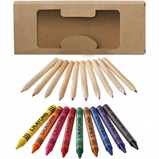 9 coloured wax crayons and 10 coloured pencils in carton box with plastic window. Decoration not available on components.