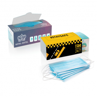 50 pieces disposable non-sterile surgical face masks. Type 2 with >98% bacterial filtration efficiency. Extra large 50 pcs box. Professional 3 layer protection. Anti-dust and breathable. For protection of others and personal health. With adjustable nose clip and durable ear loops. Perfect for receptions, travelling, companies, restaurants, gyms, construction, nail salons and hair dressers. Conform CE and EN14683:2019. Produced in an ISO 13485 certified factory.