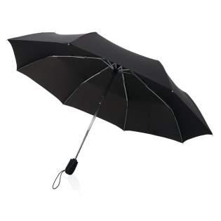 Parapluie 21'' en tissu pongé 190T avec système d'ouverture automatique en 3 étapes. Avec mât en aluminium chromé, baleines en fibre de verre et système coupe-vent. Livré sous pochette et tube cadeau Swiss Peak.