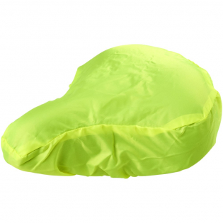 Fietszadelhoes gemaakt van 100% polyester waterdicht WP 600 limegroen fluorescerend materiaal.