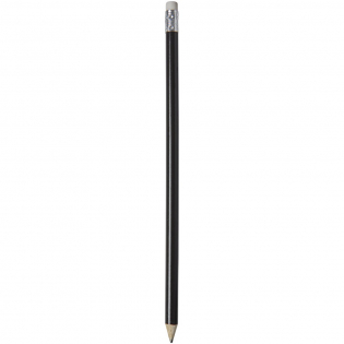 Wooden pencil with coloured pencil and white eraser. Unsharpened.