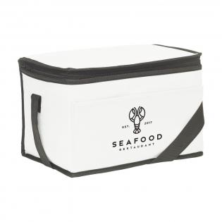 Kühltasche aus Vliesstoff (80 g/m²), geeignet für 6 Getränkedosen oder Lebensmittel. Mit Trageriemen.