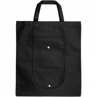 Opvouwbare non woven tas met een open hoofdvak en open zakje aan de voorzijde. Plastic drukknoopsluiting. Herbruikbaar en een geweldig alternatief voor plastic tassen. Draaghoogte 14 cm. Opgevouwen maat: W20 x H11cm. Item wordt uitgevouwen en plat verpakt verstuurd.