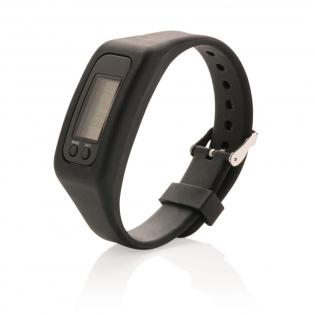 Stappenteller armband met ABS stappenteller unit met acryl scherm. De armband is gemaakt van comfortabel siliconen materiaal. De armband is verstelbaar en daardoor geschikt voor elke gebruiker. De armband telt stappen, verbrandde calorieën en de afgelegde afstand. Inclusief batterijen voor direct gebruik. Levensduur van de batterij bij normaal gebruik is ongeveer 1 jaar.