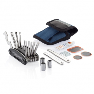 Blue pouch with reflective line on top, including 15 functions multitool with slotted screwdriver, cross-head screwdriver, nut driver, hex keys: 2mm, 2,5mm, 3mm, 4mm, 5mm, 6mm, wrenches: 8mm, 10mm, 15mm, spoke wrench: 14GE, sockets: 8mm, 9mm, 10mm, set with black plastic rack, 2 nickel plated tyre levers, tube glue, grinder and 3 rubber patches.