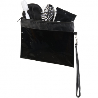 PVC see-through travel pouch with wrist strap.