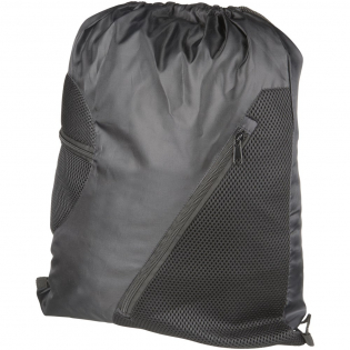 Large main compartment with drawstring rope closure. Two front zippered mesh pockets for additional storage.
