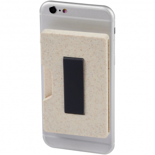 A more sustainable choice! This RFID secure card holder can safely contain up to 3 bank cards or IDs and will keep them protected from unauthorized scans and other fraudulent activities. Made of 50% wheat straw. The adhesive tape on the back allows for attaching the wallet to smartphones with a flat back. Comes with a strap for secure carrying.