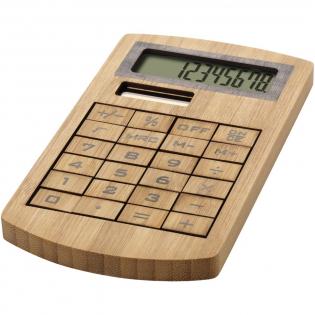 8-cijferige, milieuvriendelijke rekenmachine. Gemaakt van bamboe. Werkt op zonne-energie.