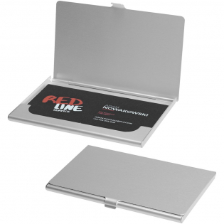 Aluminum business card holder. Holds approximately 10 business cards.