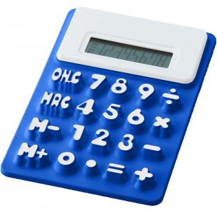 Flexibele, 8-cijferige rekenmachine met witte rand, opstaande cijfers en geheugenfunctie. Inclusief batterij.