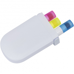 The white plastic case includes three differentcoloured gel highlighters..