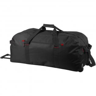 Grand sac de voyage avec compartiment principal zippé, poche avant zippée et roulettes.