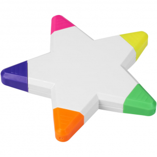 Five brightly coloured highlighters in a star shape.