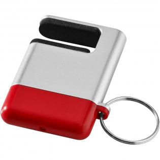 Mobiele telefoonhouder met schermreiniger en sleutelhanger.