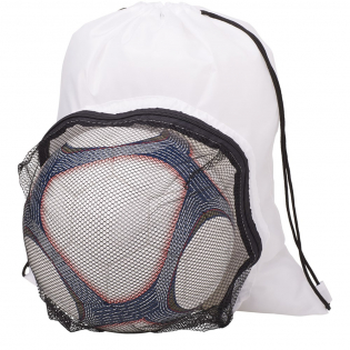 Large main compartment with drawstring rope closure. Front compartment for soccer ball storage. .