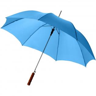 """23"""" automatische paraplu met metalen schacht en baleinen en houten handvat."""