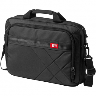"""This asymmetrically quilted case with dedicated laptop compartment sized to fit laptops with up to a 15"""" display. Nylex-lined, padded pocket protects up to a 10"""" tablet. Organization panel inside the front pocket stores your cell phone, iPod® and business essentials while also allowing plenty of space for power cords. Neoprene-padded carry handles and a removable no-slip shoulder strap provide comfortable carrying options. Pass through along the back panel easily slips over the handle of rolling luggage."""