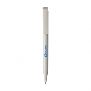 Blue ink ballpoint pen from the brand Senator® with polished barrel and large, coloured clip/push button. Made in Germany.